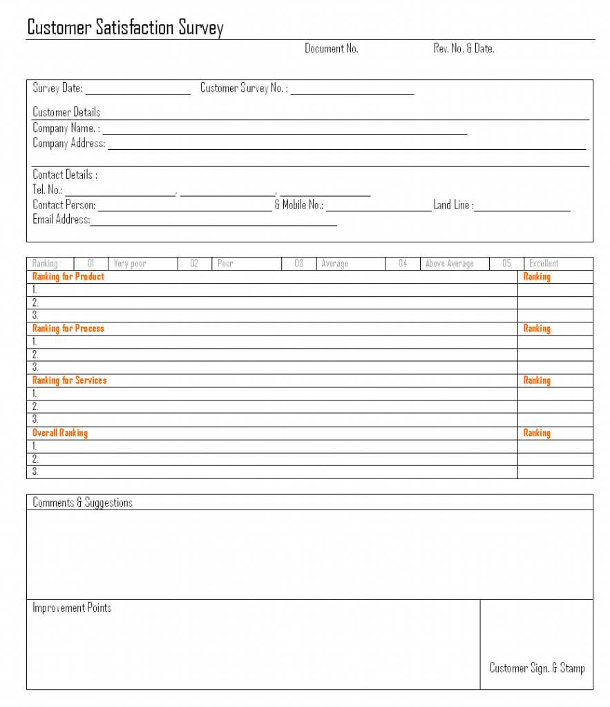 Internal Customer Service Survey Template
