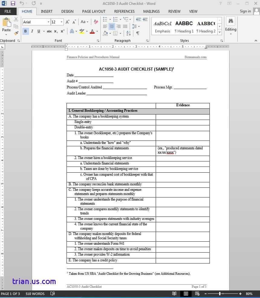 Internal Process Audit Checklist Template