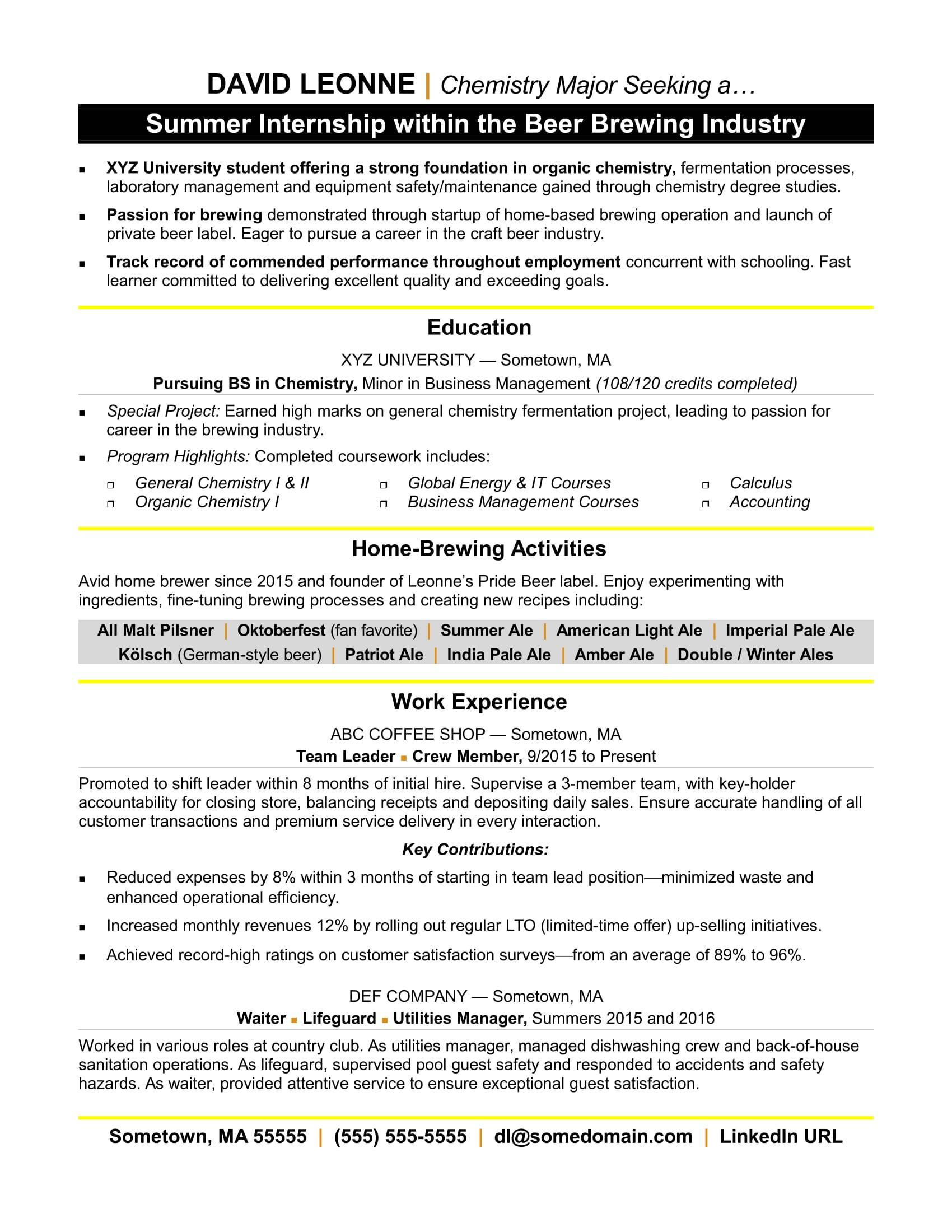 Internship Resume Templates