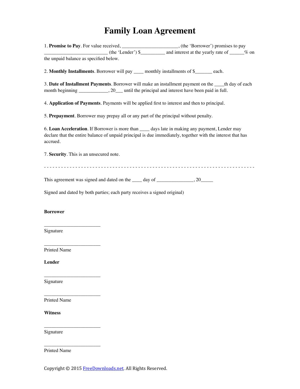 Intra Family Loan Agreement Template