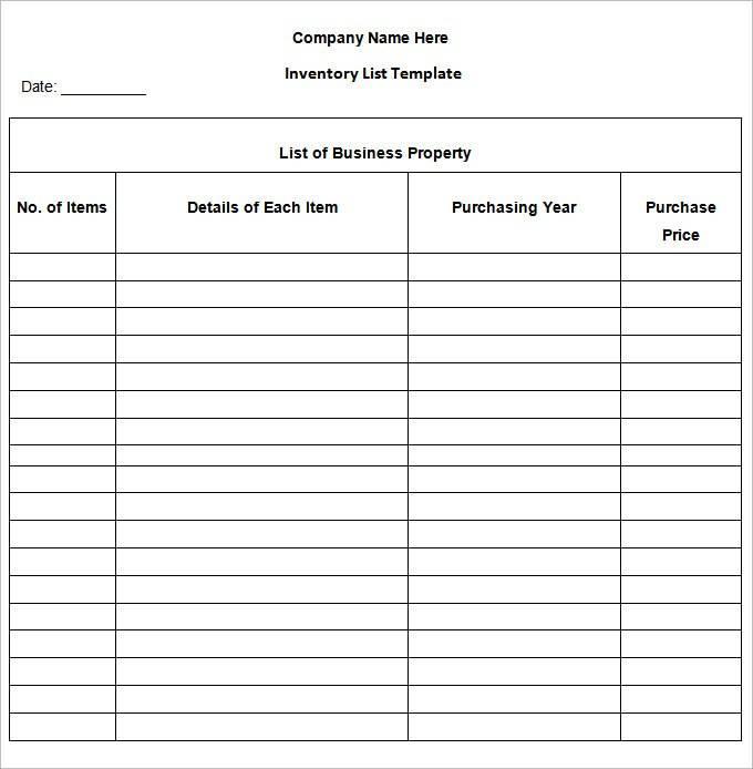 Inventory Checklist Template Pdf