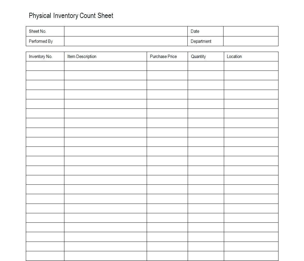 Inventory Count Template Excel