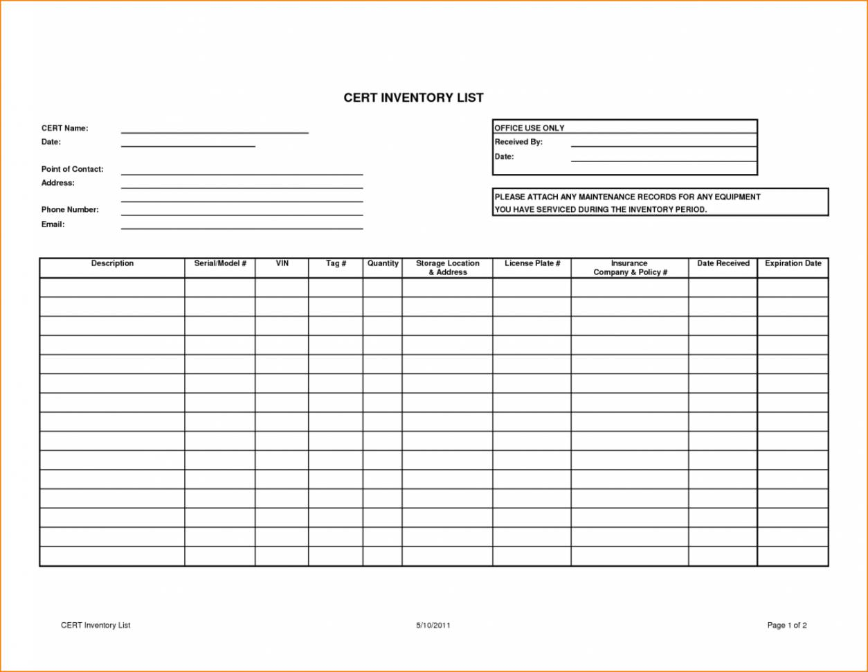 Inventory Spreadsheet Template Download