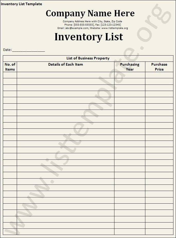 Inventory Tag Template Free