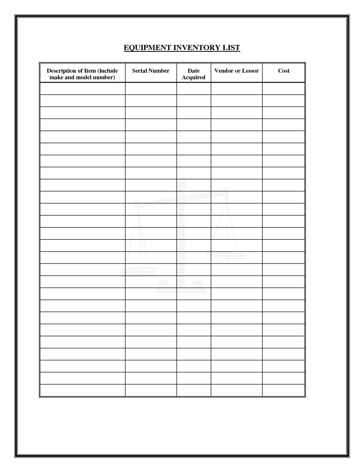 Inventory Worksheet Template Excel