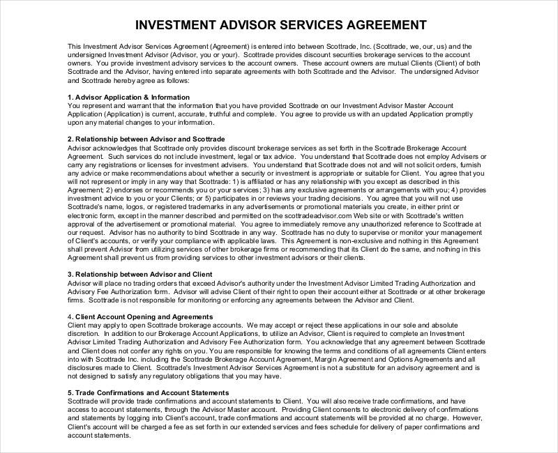 Investment Contract Samples