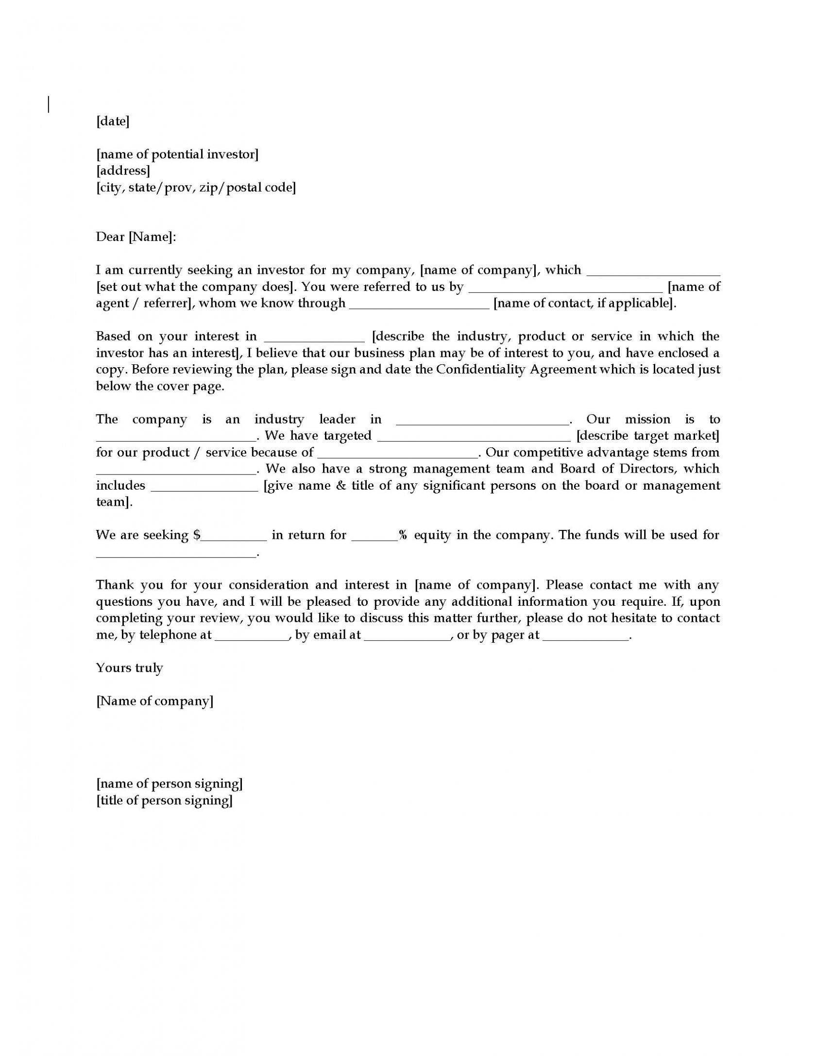 Investment Letter Of Intent Template Free
