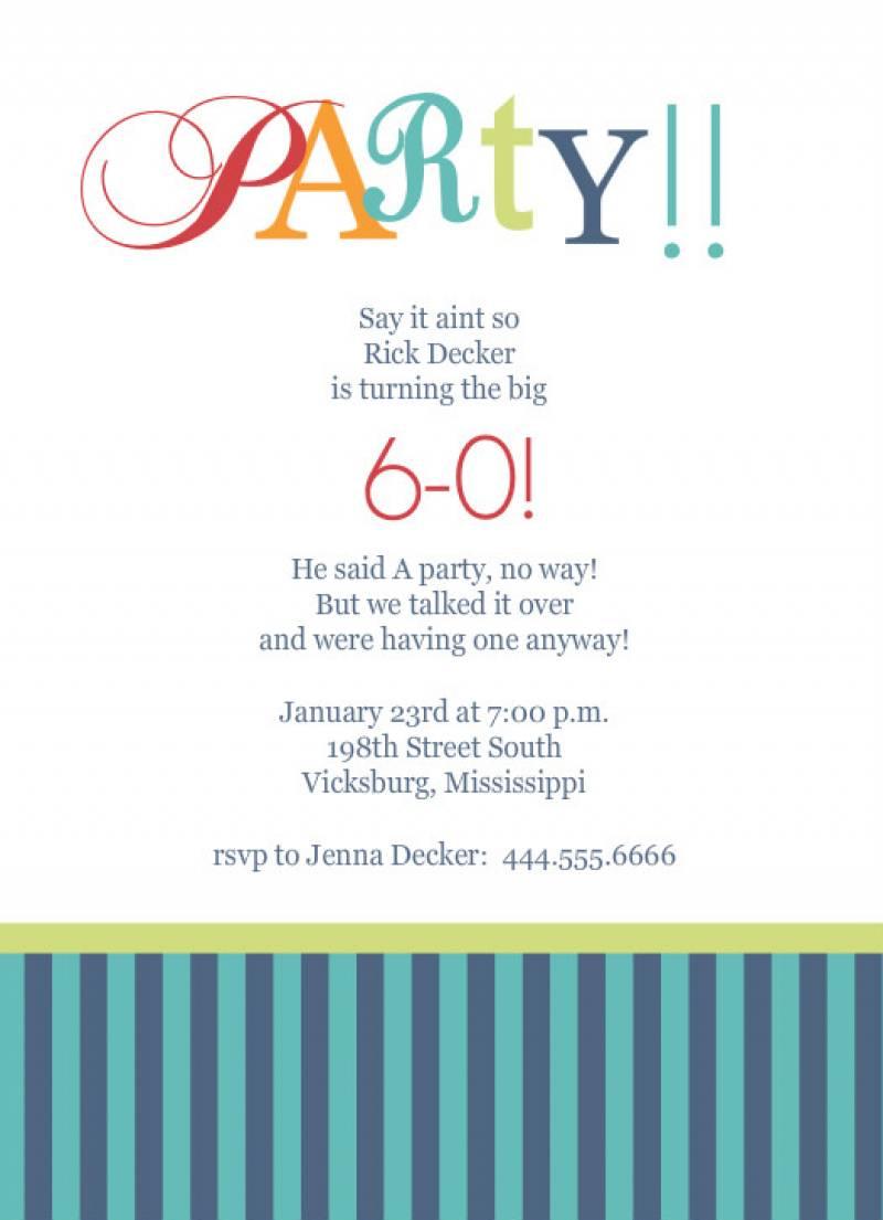 Invitation 60th Birthday Party Templates