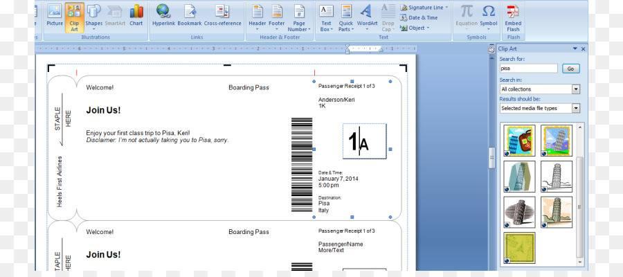 Invitation Airline Ticket Template