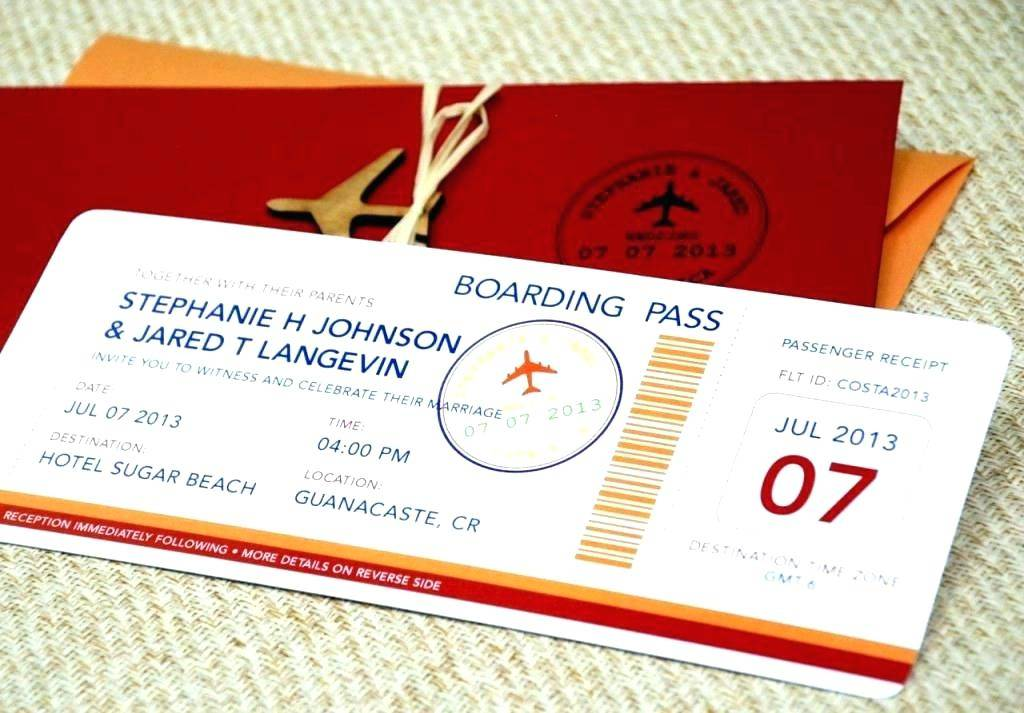 Invitation Plane Ticket Template