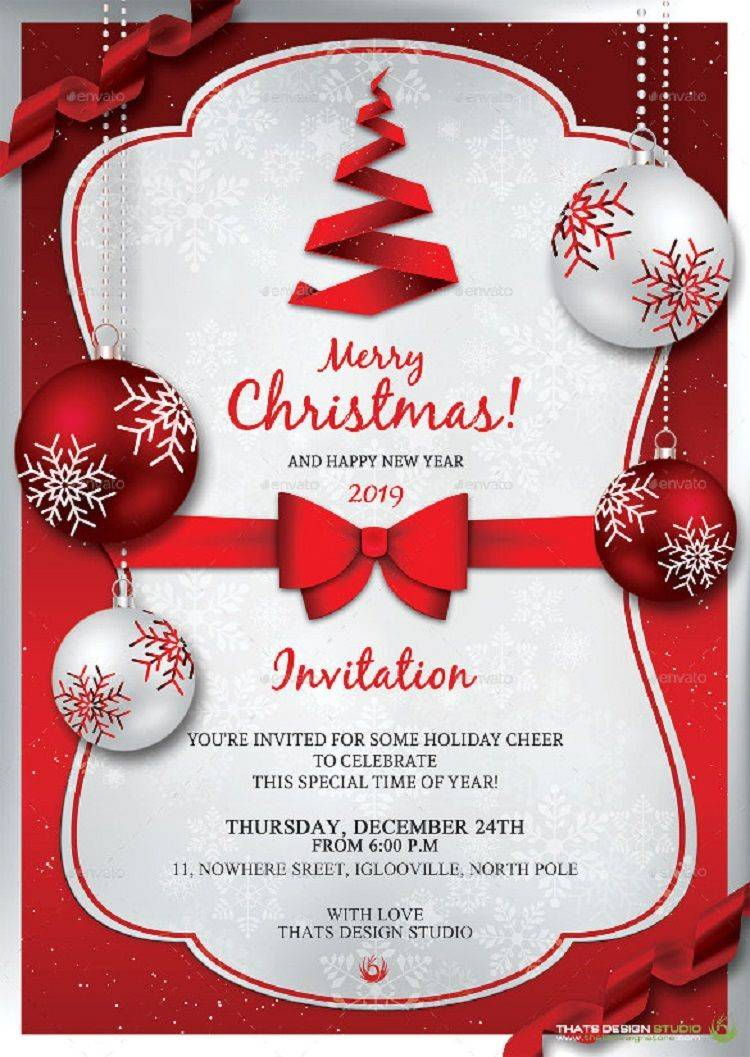 Invitation Templates Free Christmas