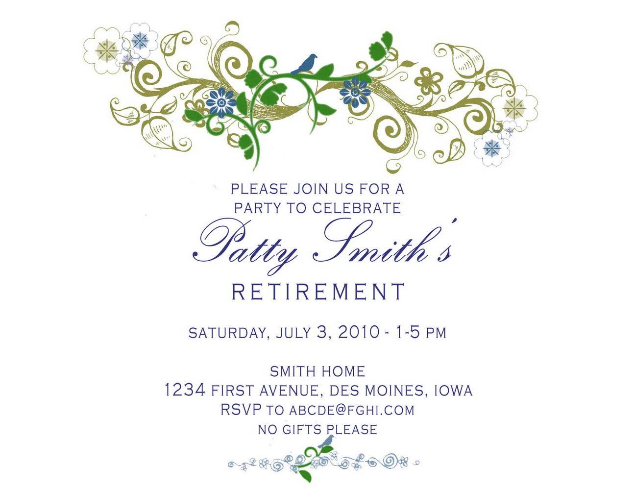 Invitation Templates Free Retirement