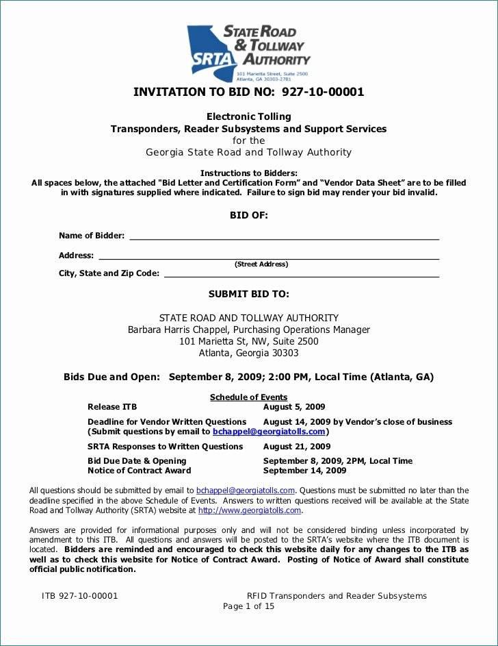 Invitation To Bid Letter Construction