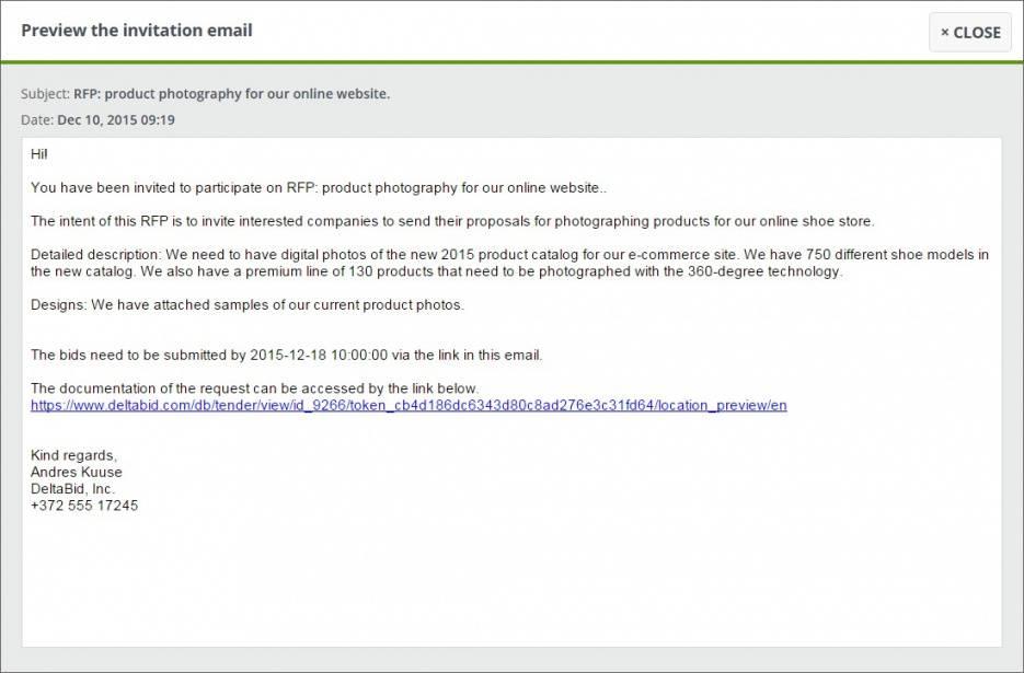 Invitation To Bid Template Email