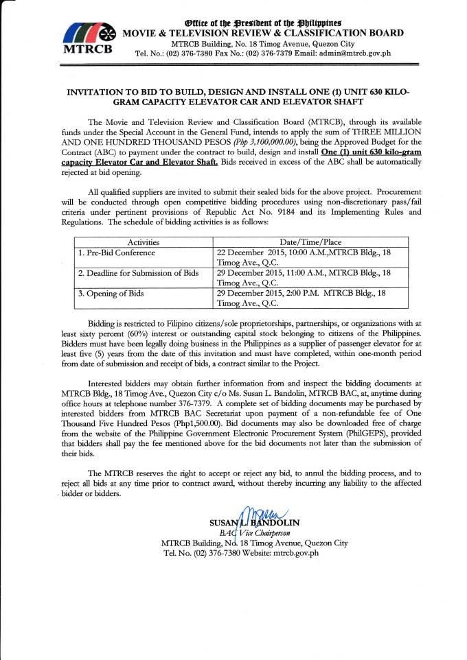 Invitation To Bid Template Philippines