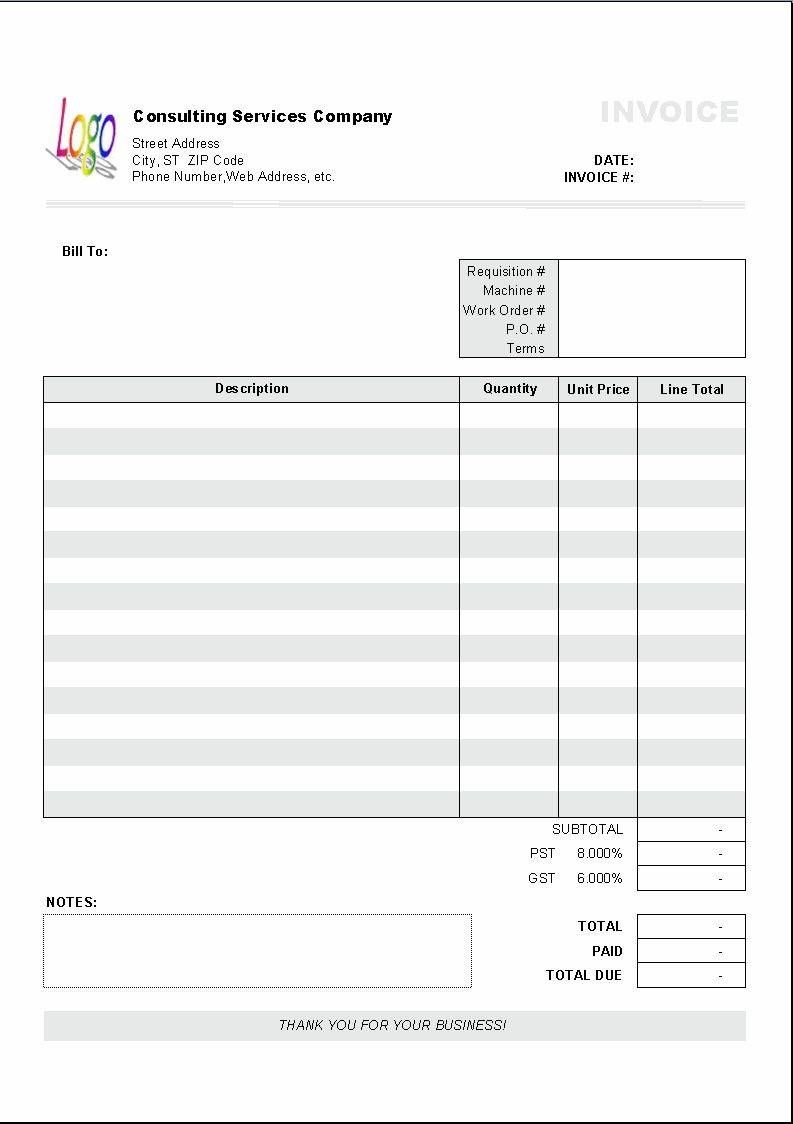 Invoice Bill Template Excel