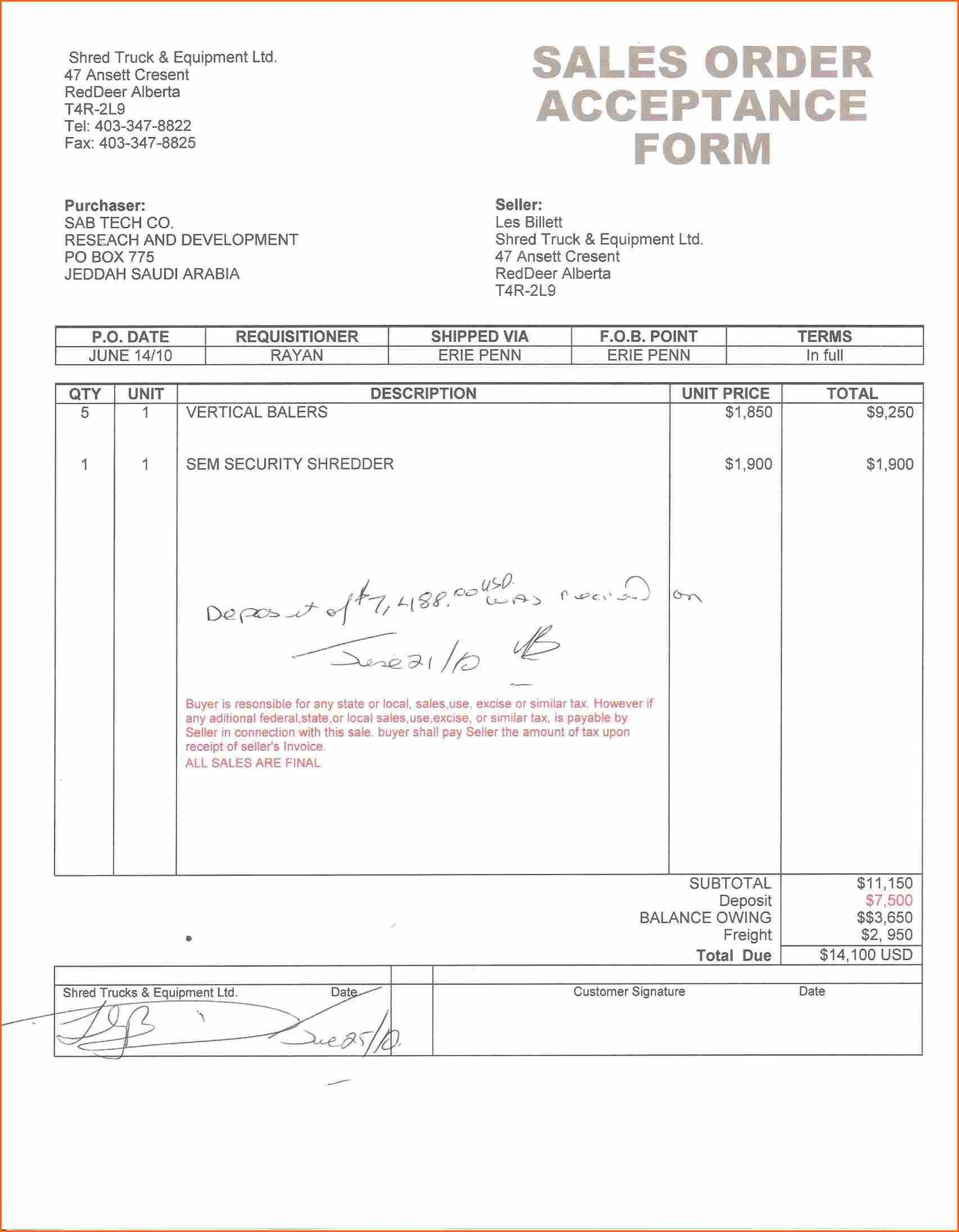 Invoice Down Payment Template