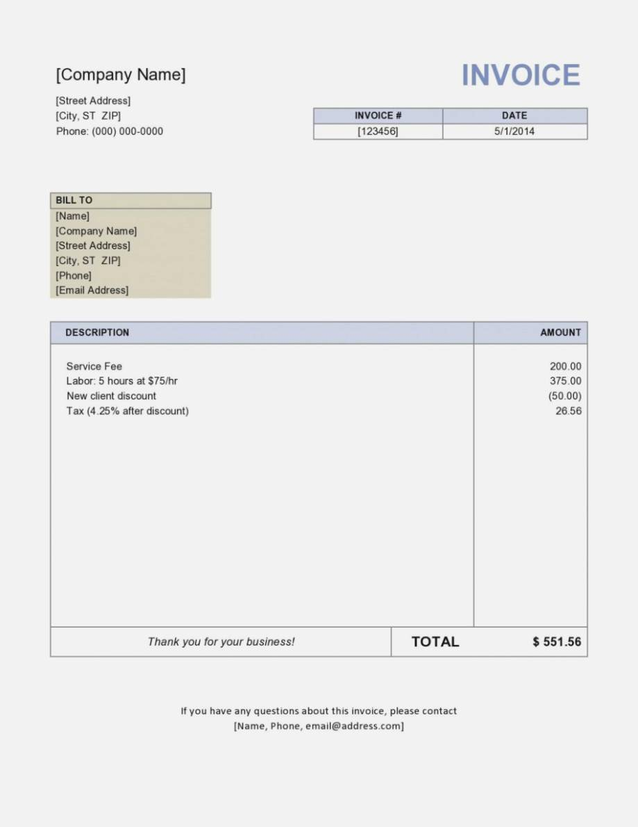 Invoice Format Quickbooks