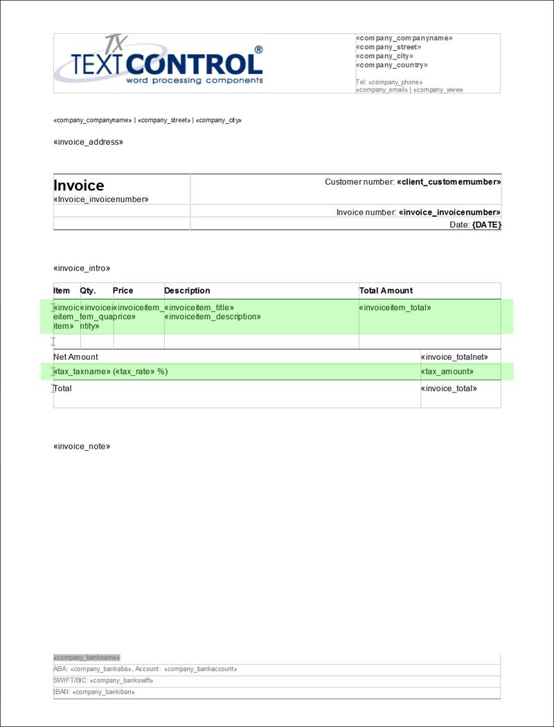 Invoice Format Template Html