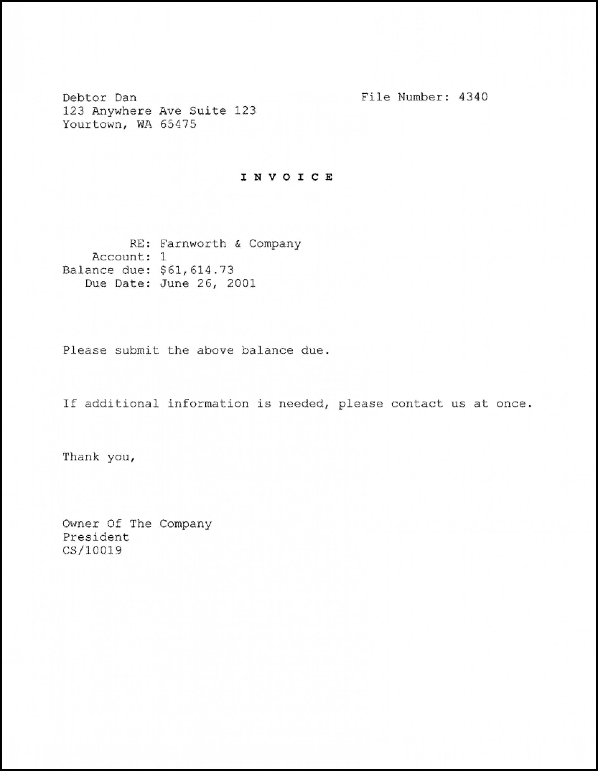 Invoice Letter Template Docx