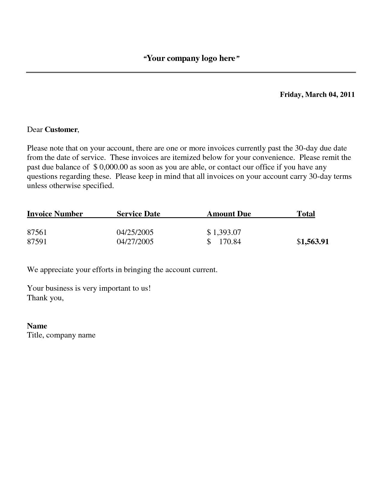 Invoice Letter Template