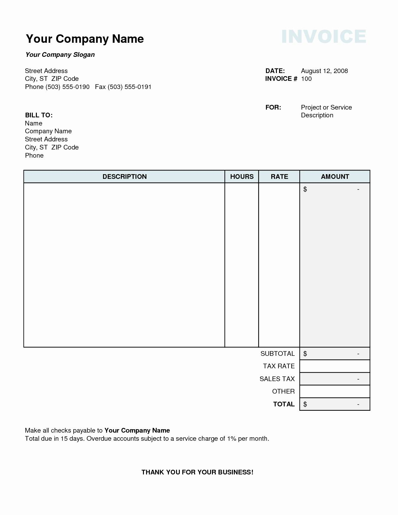 Invoice Sample Template Excel