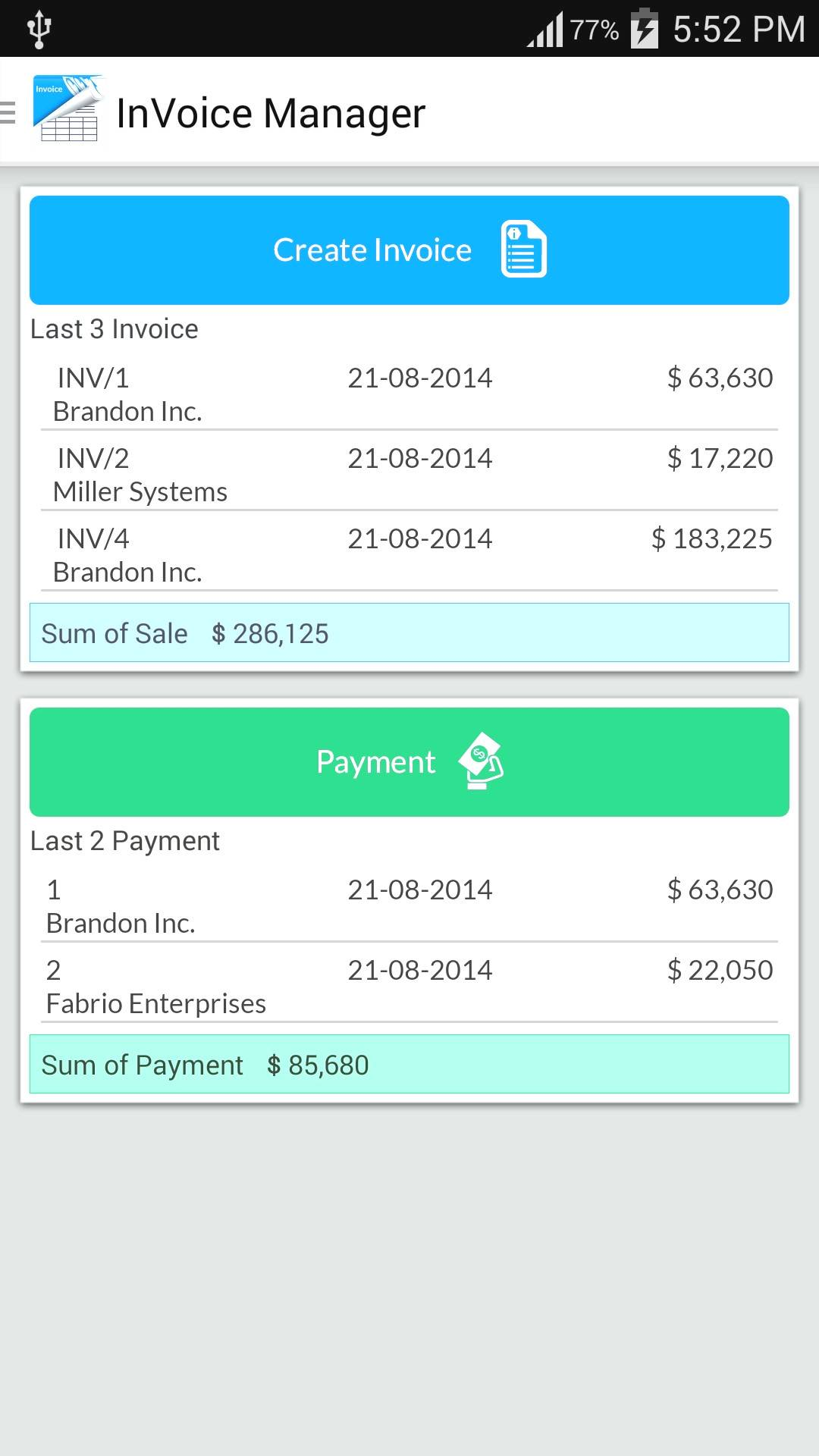 Invoice Template Android