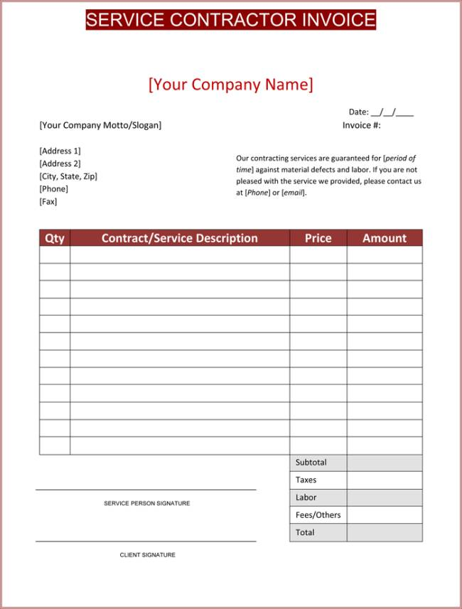 Invoice Template Contract Work