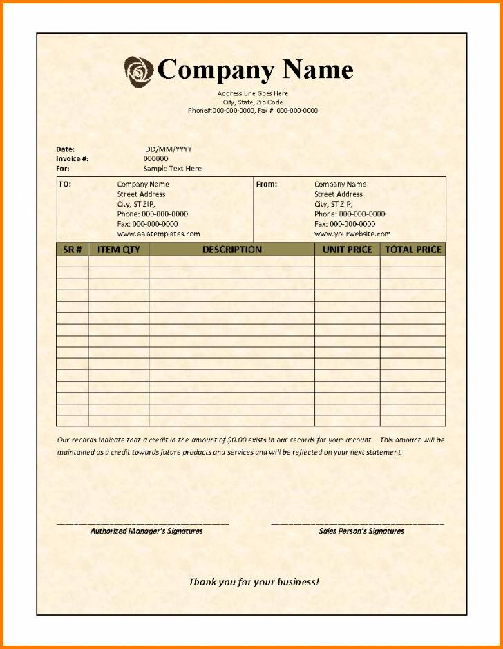 Invoice Template For Contractors