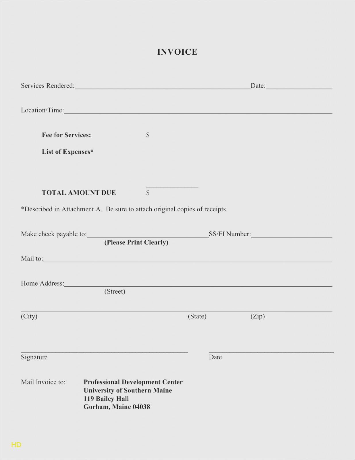 Invoice Template For Services Rendered Free