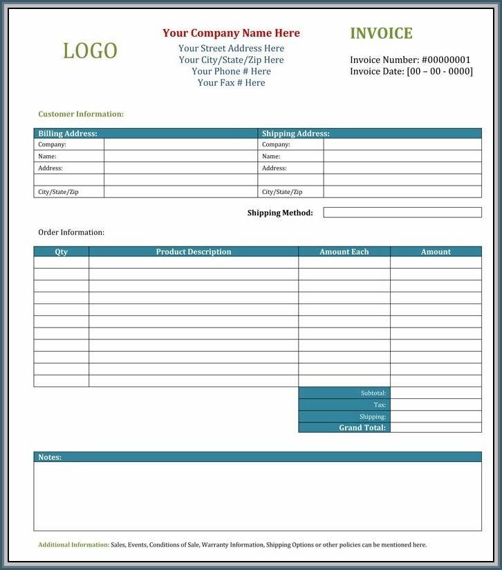 Invoice Template For Wordpad