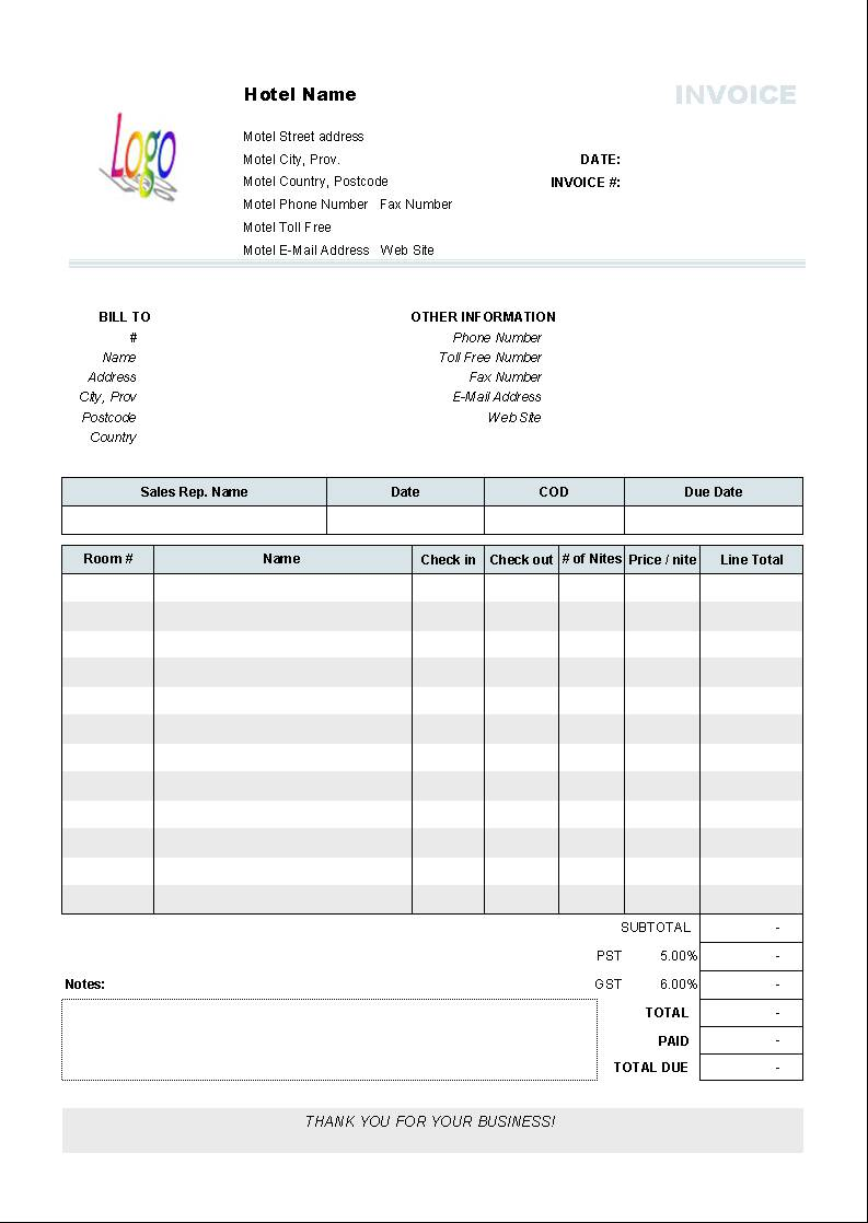 Invoice Template Format Download