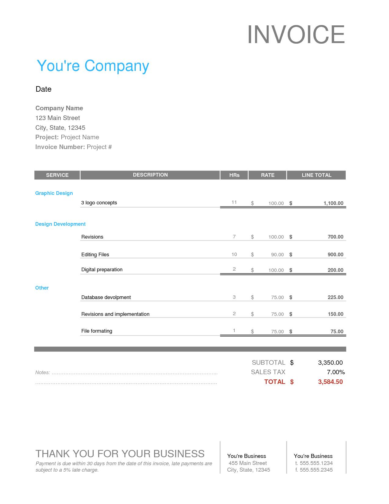 Invoice Template Google Cool