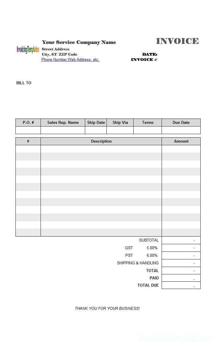 Invoice Template Wordpad