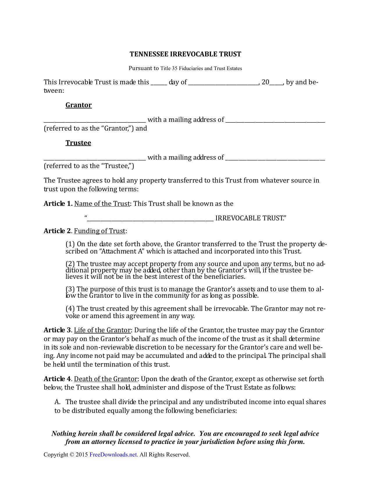 Irrevocable Trust Template Tennessee