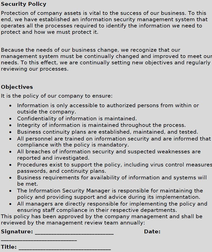 Iso 27001 Information Security Policy Examples
