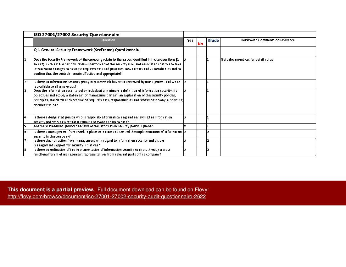 Iso 27001 Supplier Security Policy Template