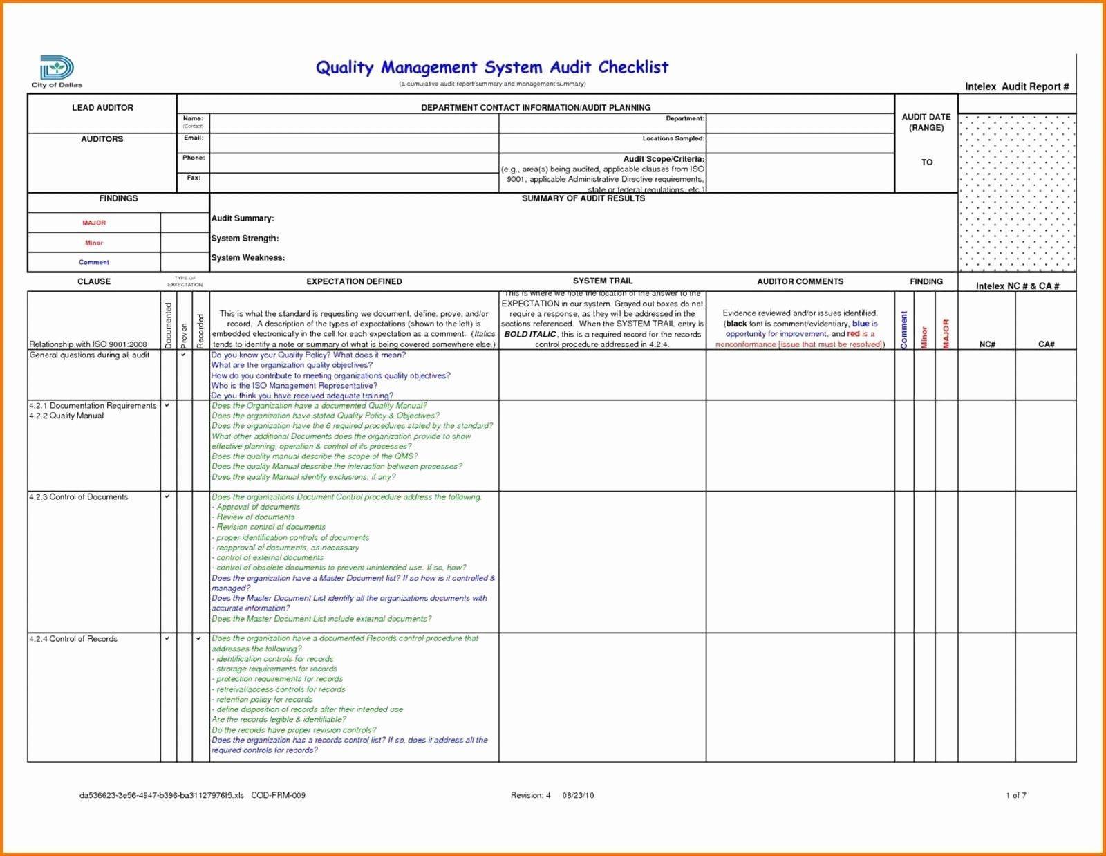 Iso 9001 Risk Assessment Template