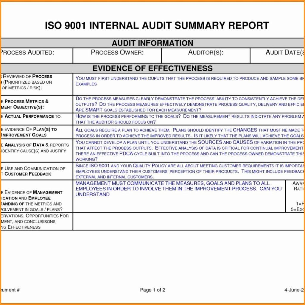 Iso Audit Report Template Free