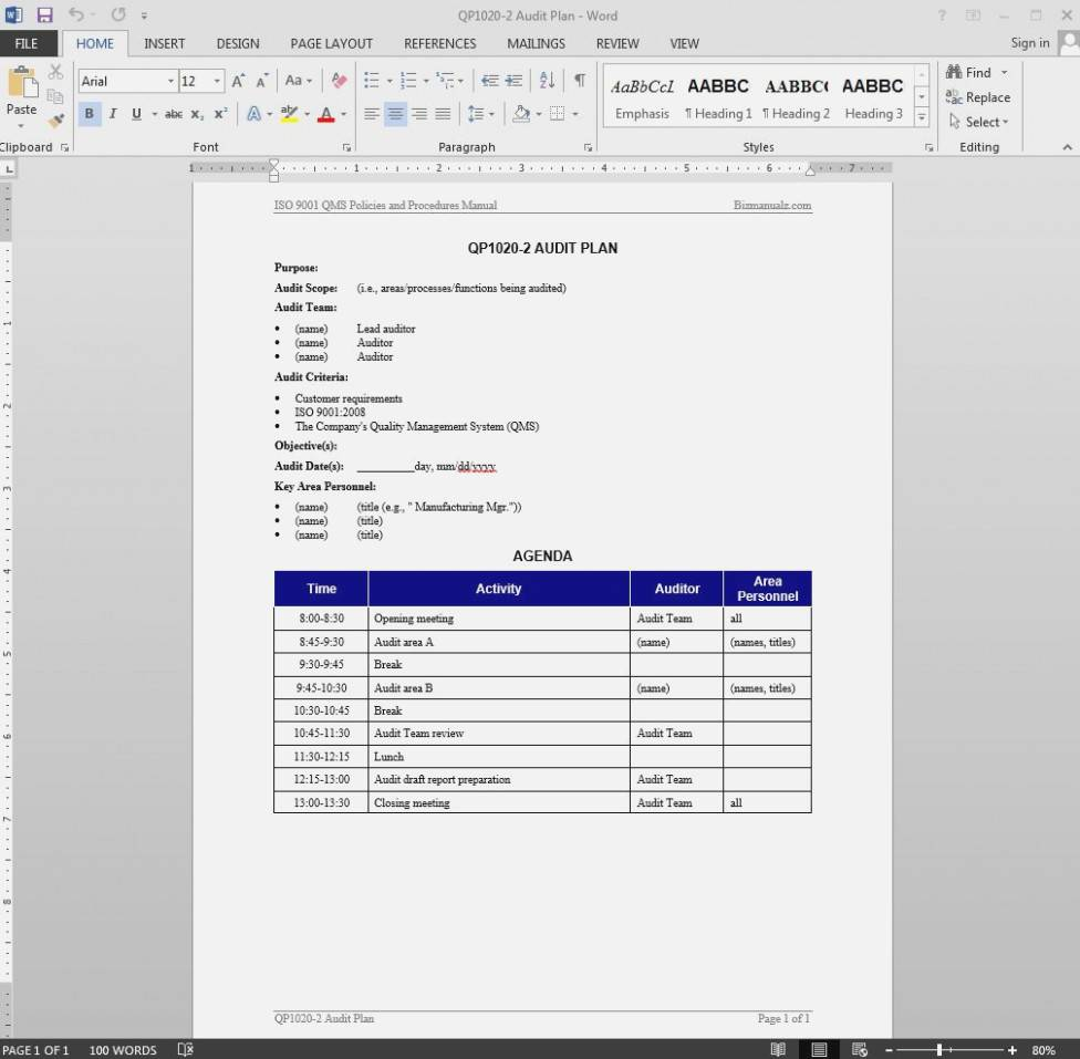 Iso Internal Audit Plan Template