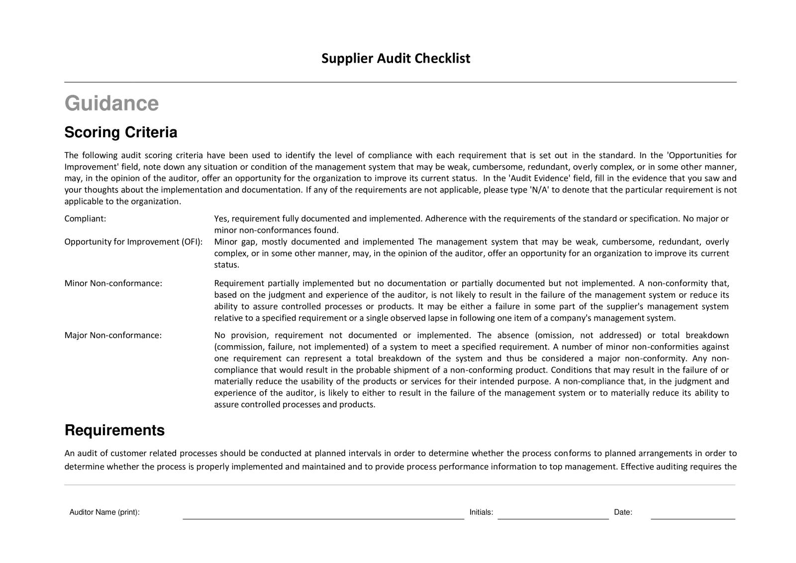 Iso Supplier Evaluation Template