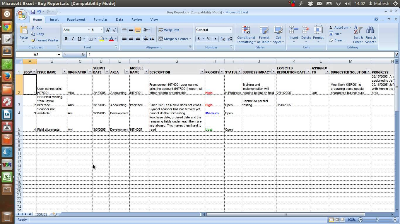 Issue Tracking Excel Template Download