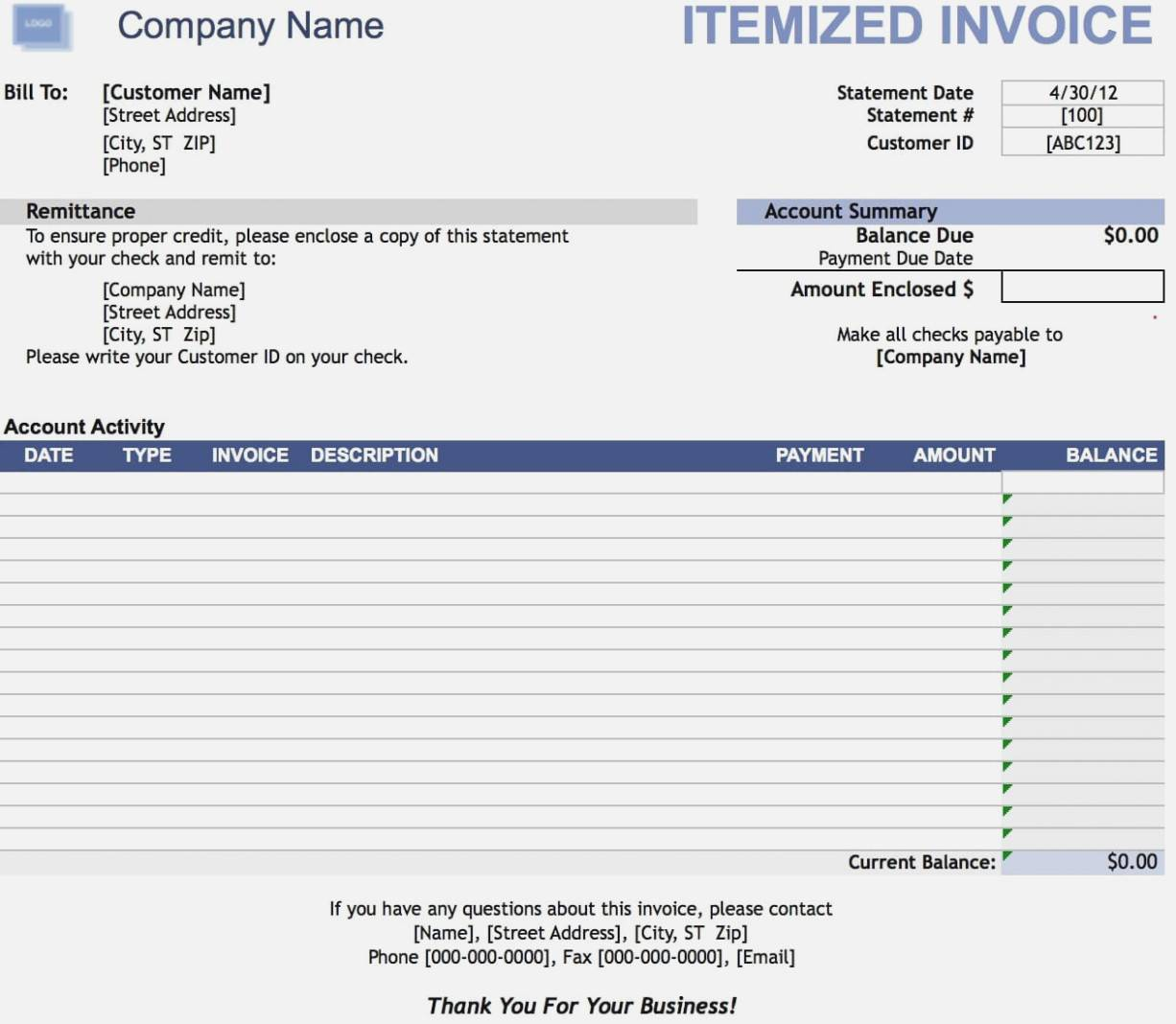 Itemized Bill Template
