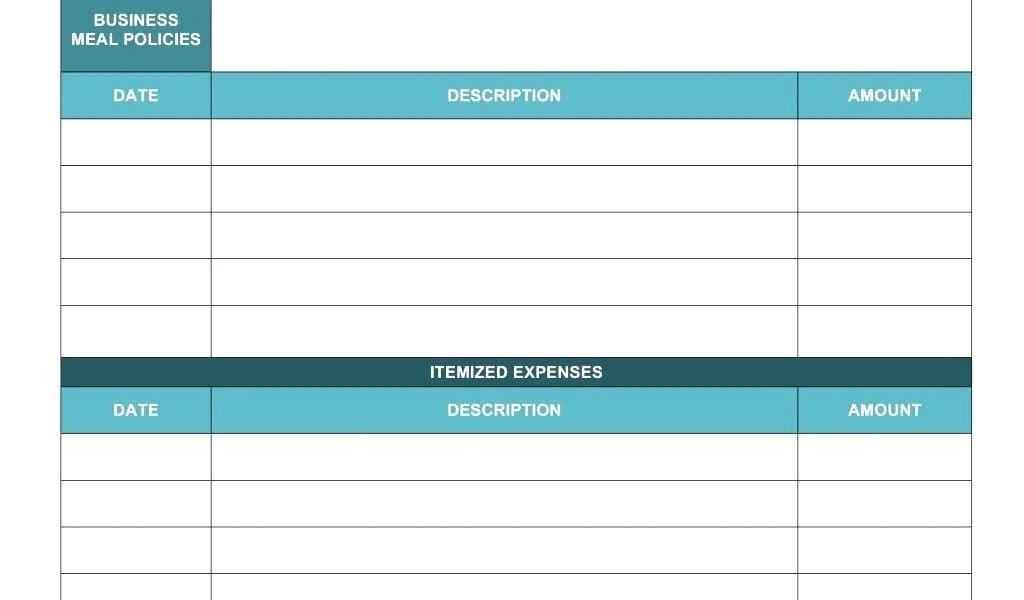 Itemized Expense Report Template