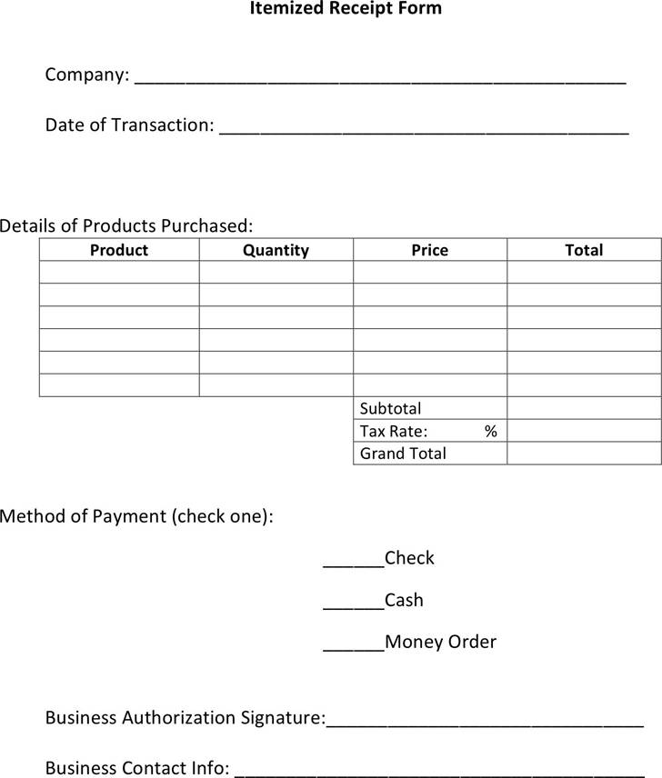 Itemized Invoice Template