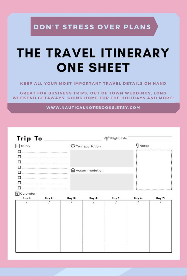 Itinerary Template For Business Travel