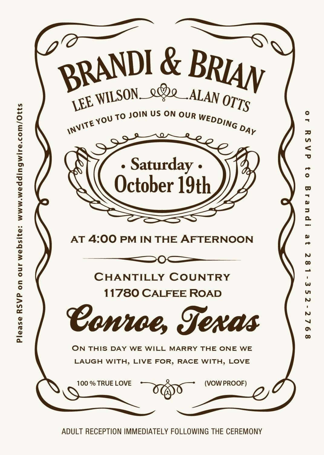 Jack Daniels Wedding Invitation Template