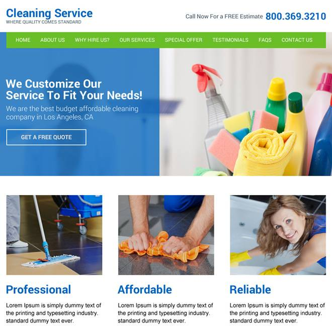 Janitorial Services Website Templates