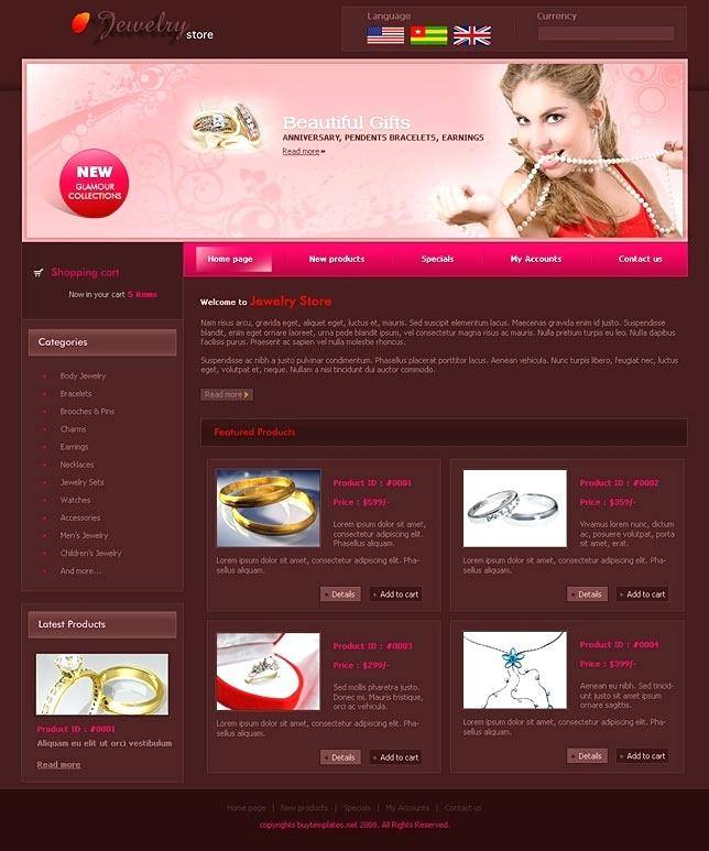 Jewelry Websites Templates Free Download