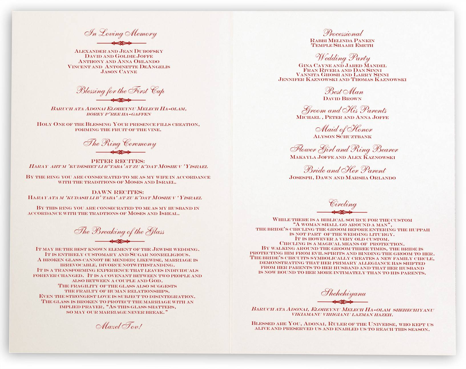 Jewish Wedding Ceremony Program Template